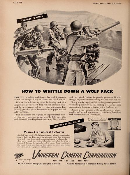 """Universal Camera Corp. Wartime Ad in Sept. 1943 Issue of """"Home Movies"""""""