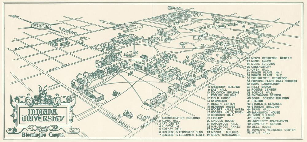 1950 Campus Map Indiana University Libraries Moving Image Archive