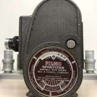 """<p style=""""text-align: center;""""><em><a href=""""http://collections.libraries.indiana.edu/IULMIA/exhibits/show/alan-lewis-collection"""">Return to Collection Home Page</a></em></p><br /> Bell &amp; Howell Filmo Sportster Double Run Eight"""