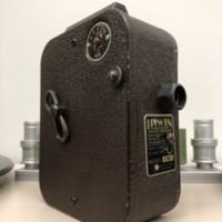 """<div style=""""text-align: center;""""><em><a href=""""http://collections.libraries.indiana.edu/IULMIA/exhibits/show/alan-lewis-collection"""">Return to Collection Home Page</a></em></div><br /> <br />Irwin Magazine Movie Camera Model 16"""