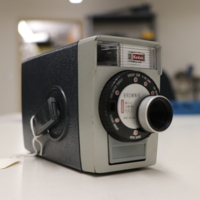 """<div style=""""text-align: center;""""><em><a href=""""http://collections.libraries.indiana.edu/IULMIA/exhibits/show/alan-lewis-collection"""">Return to Collection Home Page</a></em></div><br /> <br />Kodak Brownie 8 Movie Camera f/2.7"""
