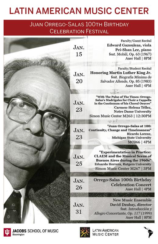Calendar: Juan Orrego-Salas 100th Birthday Celebration Festival