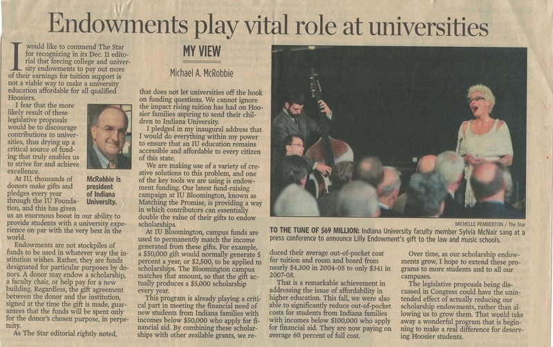 """""""Endowments play vital role at universities""""<br /> <br /> By Michael A. McRobbie"""