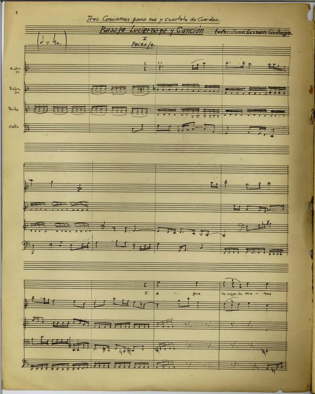 """Score: """"Tres canciones, op. 12"""" (1945) by Juan Orrego-Salas"""