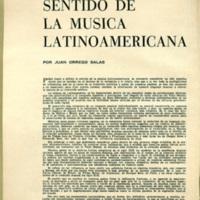 Writings: Sentido de La Musica Latinoamericana by Juan Orrego-Salas