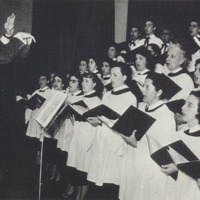 Photo: Juan Orrego-Salas conducting chorus