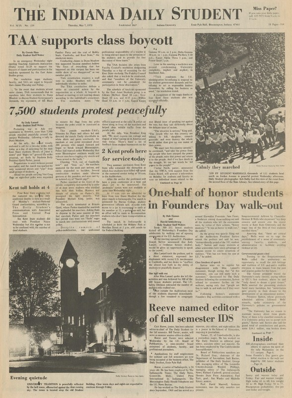 Indiana Daily Student, May 7, 1970, page 1