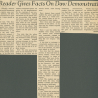 """""""Reader Gives Facts on Dow Demonstration"""""""