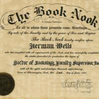 Book Nook diploma of Herman Wells