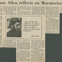 Allen Reflects on Moratorium