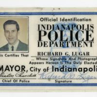 Richard G. Lugar, Mayor of Indianapolis Identification Card