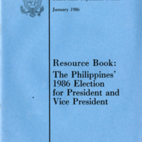 Resource Book: The Philippines' 1986 Election for President and Vice President