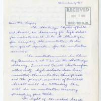 Letter from the Al. J. Kettler Chapter of Shortridge Quill and Scroll to Richard Lugar