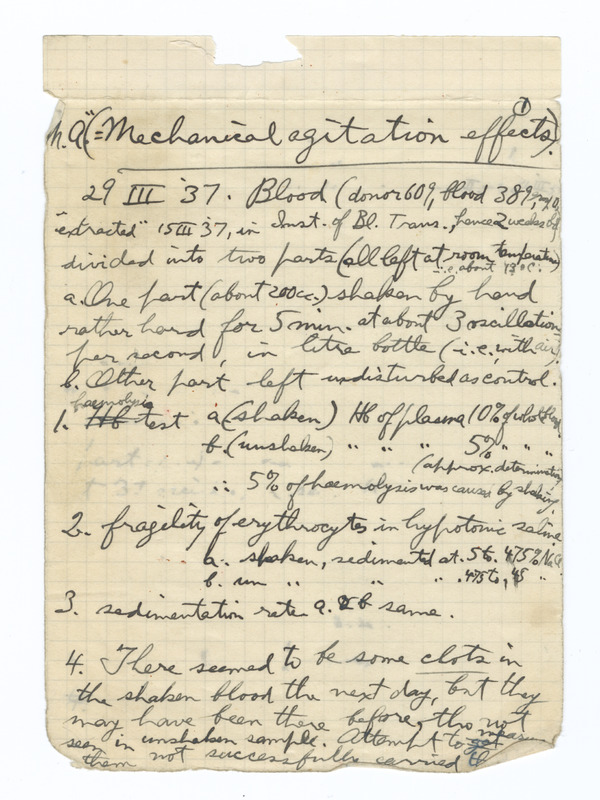 Sample of Muller's notes on blood transfusion from Spanish Civil War