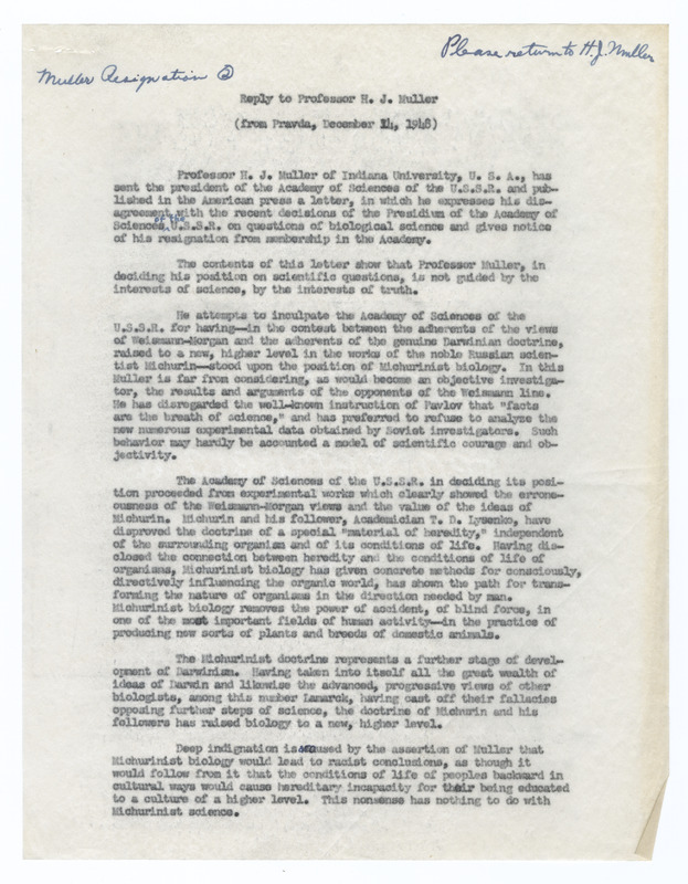 The public reply to Muller's resignation from the Academy of Science of the USSR published in Pravda