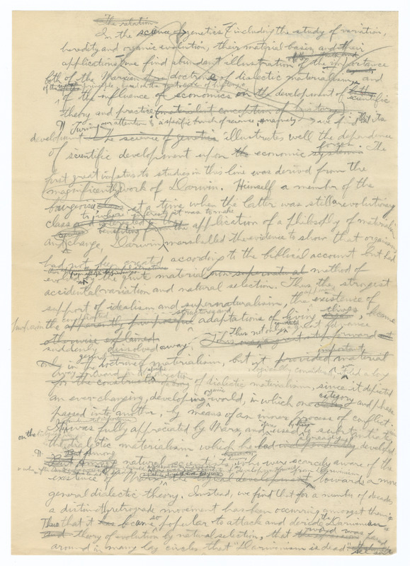 Muller's 1934 draft of Darwin and Maxism (incomplete)