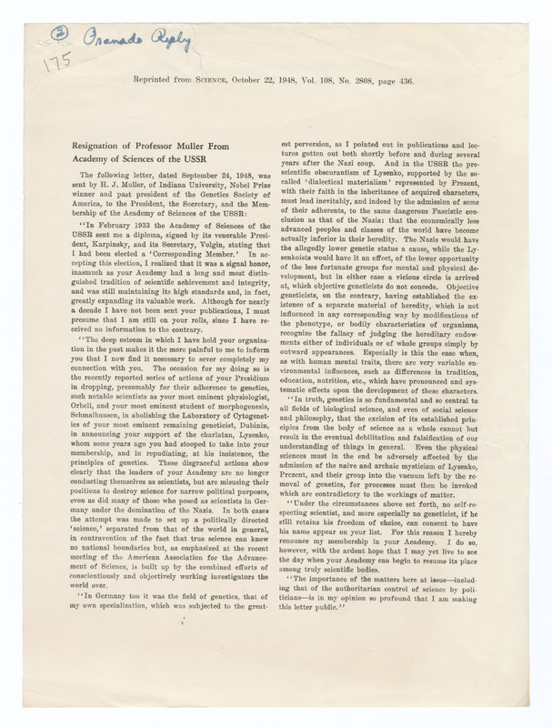 Muller's resignation from Academy of Sciences of the USSR