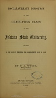 <em>Baccalaureate Discourse to the Graduating Class of the Indiana State University</em>